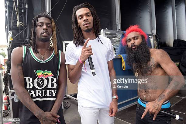 Meechy Darko Erick The Architect Elliott and Zombie Juice of Flatbush ZOMBiES backstage before performing at the 2016 Panorama NYC Festival Day 3 at...