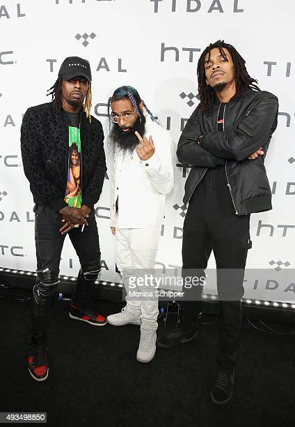Meechy Darko Zombie Juice and Erick Arc Elliott of Flatbush Zombies attend TIDAL X 1020 at Barclays Center on October 20 2015 in the Brooklyn borough...