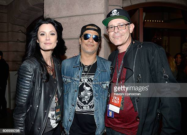 Meegan Hodges, musician Slash and Creative Director Halloween Horror Nights, Universal Studios Hollywood John Murdy attend Universal Studios...