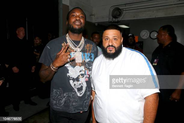 Meek Mill and DJ Khaled are seen backstage during the BET Hip Hop Awards 2018 at Fillmore Miami Beach on October 6 2018 in Miami Beach Florida