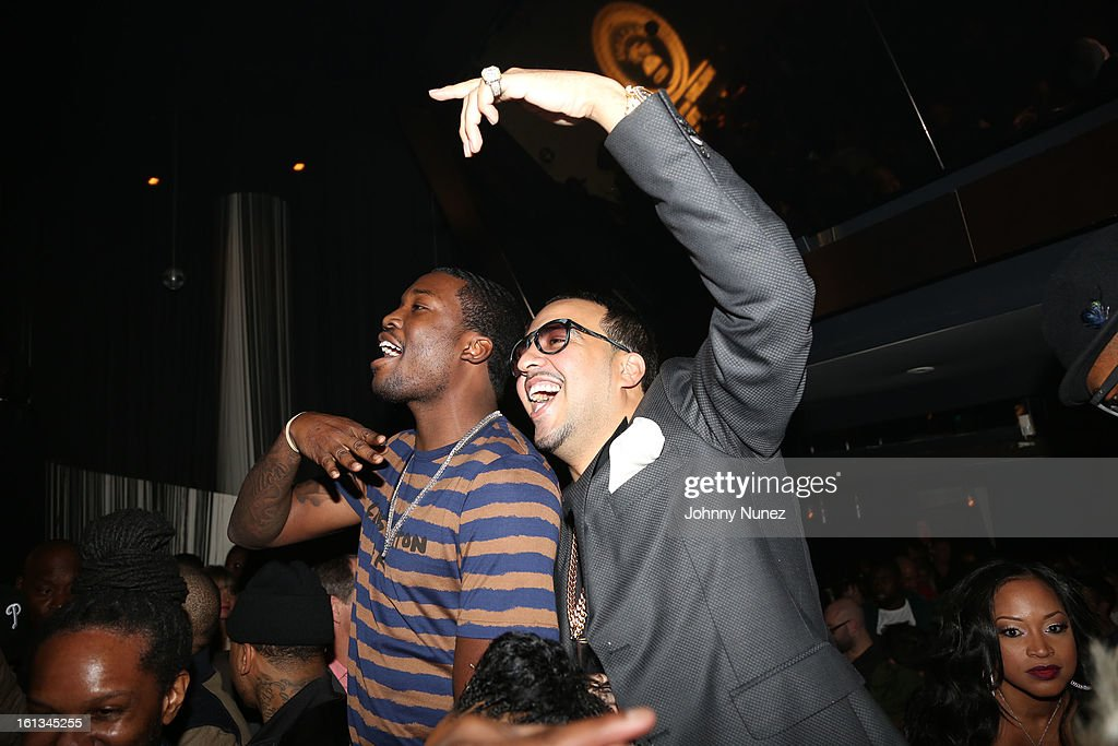 Meek Mill and French Montana attend Compound Entertainment And Malibu Red GRAMMY Midnight Brunch 2013 at Bagatelle/STK on February 9, 2013 in West Hollywood, California.