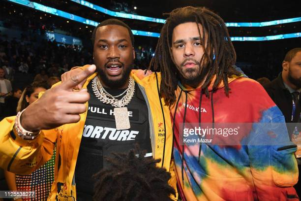 Meek Mill and J Cole attend the 68th NBA AllStar Game at Spectrum Center on February 17 2019 in Charlotte North Carolina