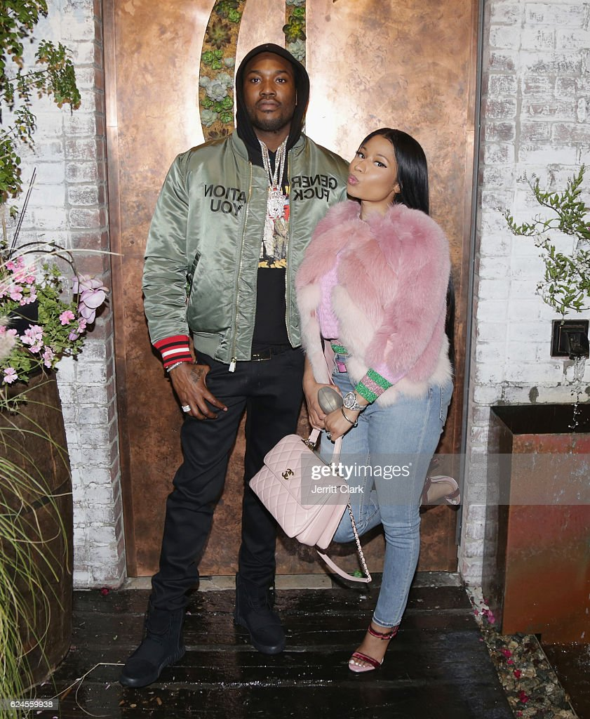 Meek Mill and Nicki Minaj attend DJ Khaled 'The Keys' Book Launch Dinner Presented By Penguin Random House And CIROC on November 19, 2016 in Los Angeles, California.