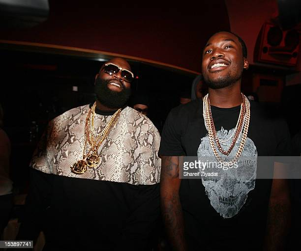 """Meek Mill and Rick Ross attend the album listening party of Meek Mill's """"Dreams and Nightmare"""" at Electric Lady Studio on October 10, 2012 in New..."""