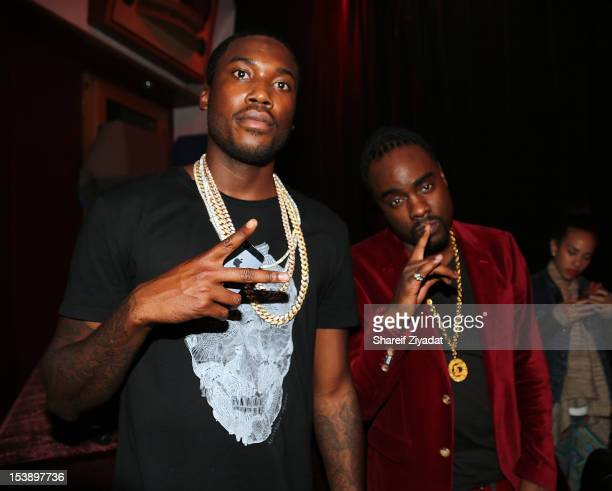 """Meek Mill and Wale attends the album listening party of Meek Mill's """"Dreams and Nightmare"""" at Electric Lady Studio on October 10, 2012 in New York..."""