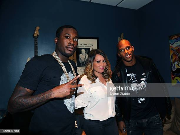 """Meek Mill, Angie Martinez and Victor Cruz attend the album listening party of Meek Mill's """"Dreams and Nightmare"""" at Electric Lady Studio on October..."""