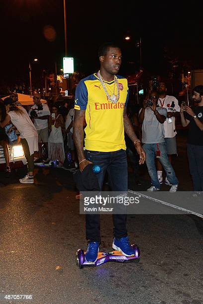 Meek Mill appears backstage during the 2015 Budweiser Made in America Festival at Benjamin Franklin Parkway on September 5 2015 in Philadelphia...
