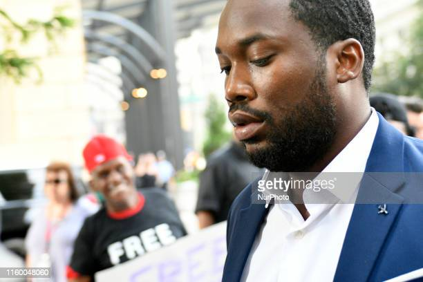 Meek Mill arrives as supporters and fans gather for a rally to support the Philadelphia born rapper and criminal justice activist as he is expected...