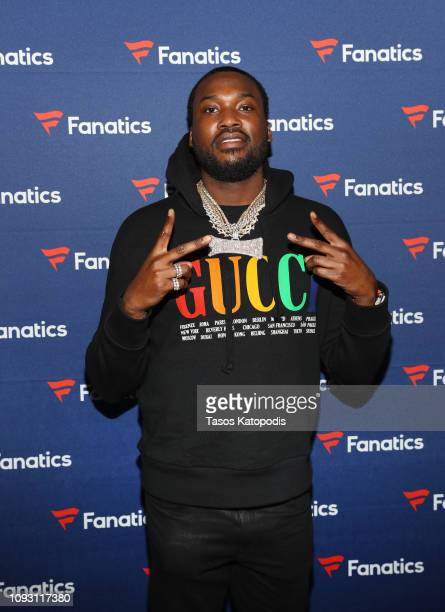 Meek Mill arrives at the Fanatics Super Bowl Party at College Football Hall of Fame on January 5, 2019 in Atlanta, Georgia.