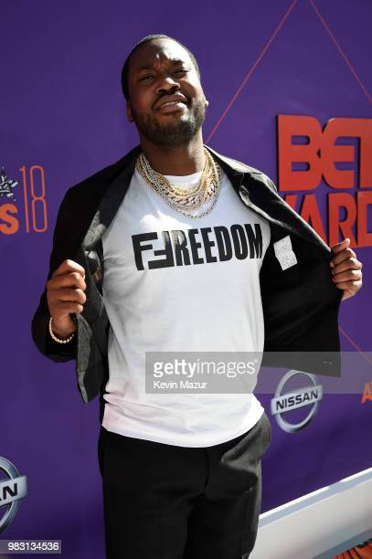 Meek Mill attends the 2018 BET Awards at Microsoft Theater on June 24 2018 in Los Angeles California