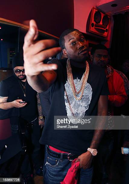 """Meek Mill attends the album listening party of Meek Mill's """"Dreams and Nightmare"""" at Electric Lady Studio on October 10, 2012 in New York City."""