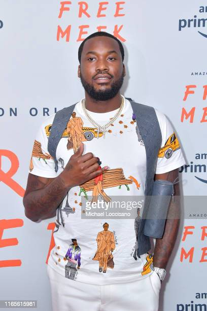 Meek Mill attends the Free Meek World Premiere at The Ziegfeld Ballroom on August 01 2019 in New York City