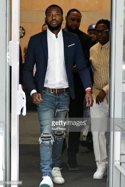 Meek Mill departs after appearing a scheduled hearing before a new judge after granted a retrial in Philadelphia PA on August 6 2019