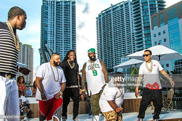 Meek Mill DJ Khaled Ace Hood Rick Ross Lil Terio and French Montana on the set of 'They Dont Love Me No More' video shoot on May 28 2014 in Miami...