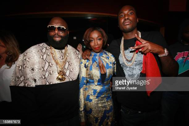 """Meek Mill, Estelle and Rick Ross attend the album listening party of Meek Mill's """"Dreams and Nightmare"""" at Electric Lady Studio on October 10, 2012..."""