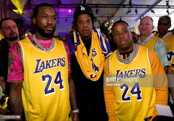 Meek Mill, Jay-Z and Yo Gotti attend Michael Rubin's Fanatics Super Bowl Party at Loews Miami Beach Hotel on February 01, 2020 in Miami Beach,...