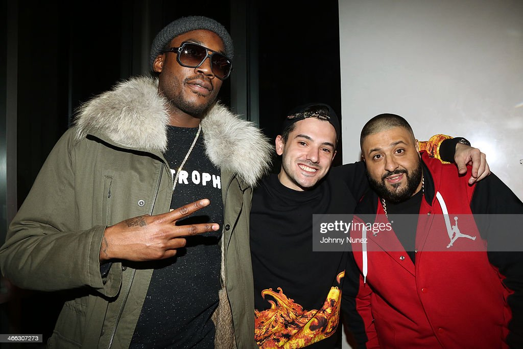 Meek Mill, Mik, and DJ Khaled attend the Just Ivy Private Showcase at The Glasshouses on January 31, 2014 in New York City.