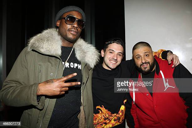 Meek Mill Mik and DJ Khaled attend the Just Ivy Private Showcase at The Glasshouses on January 31 2014 in New York City