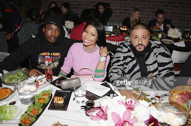 Meek Mill Nicki Minaj and DJ Khaled attend DJ Khaled 'The Keys' Book Launch Dinner Presented By Penguin Random House And CIROC on November 19 2016 in...