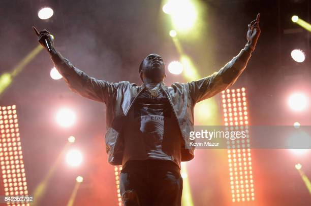Meek Mill performs as a surprise guest during Jay Z's set during the 2017 Budweiser Made in America festival Day 2 at Benjamin Franklin Parkway on...