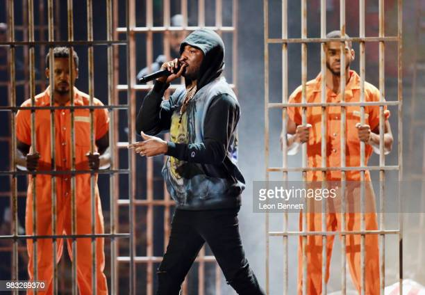 Meek Mill performs onstage at the 2018 BET Awards at Microsoft Theater on June 24 2018 in Los Angeles California