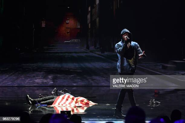 Meek Mill performs onstage during the BET Awards at Microsoft Theatre in Los Angeles California on June 24 2018