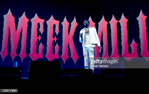 Meek Mill performs onstage during the EA Sports Bowl at Bud Light Super Bowl Music Fest on January 30, 2020 in Miami, Florida.