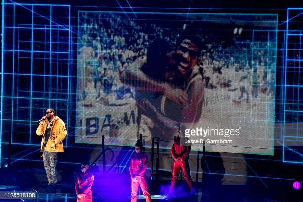Meek Mill performs prior to the 2019 NBA All Star Game on February 17 2019 at Spectrum Center in Charlotte North Carolina NOTE TO USER User expressly...
