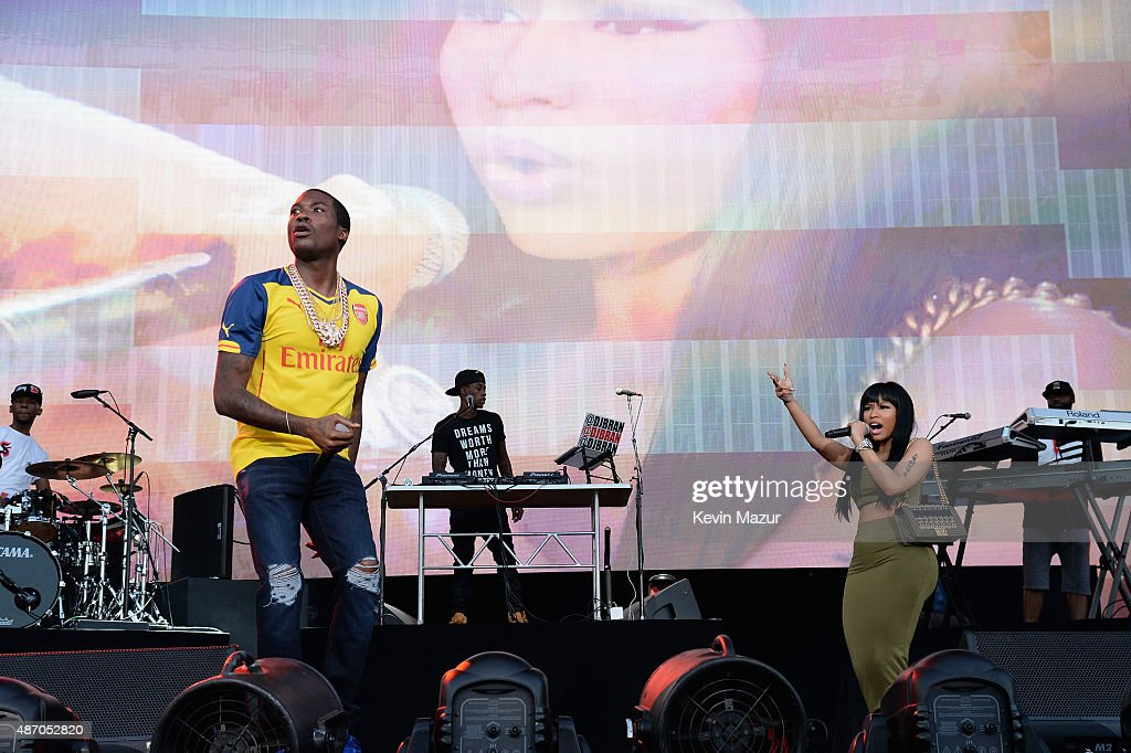 Meek Mill (L) performs with surprise guest Nicki Minaj (R) onstage during the 2015 Budweiser Made in America Festival at Benjamin Franklin Parkway on September 5, 2015 in Philadelphia, Pennsylvania.