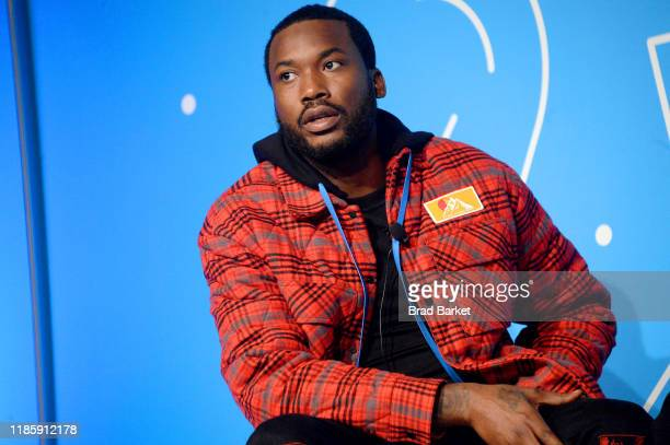 "Meek Mill speaks on stage at the ""Justice for All: Reforming a Broken System"" at the Fast Company Innovation Festival - Day 2 on November 06, 2019 in..."