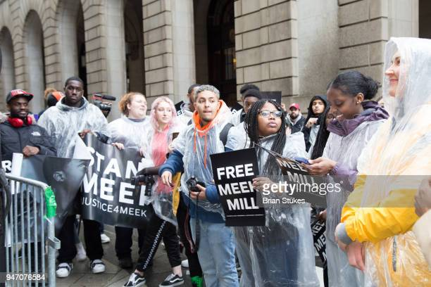 Meek Mill supporters protest on day of status hearing at Philadelphia Criminal Justice Center on April 16 2018 in Philadelphia Pennsylvania