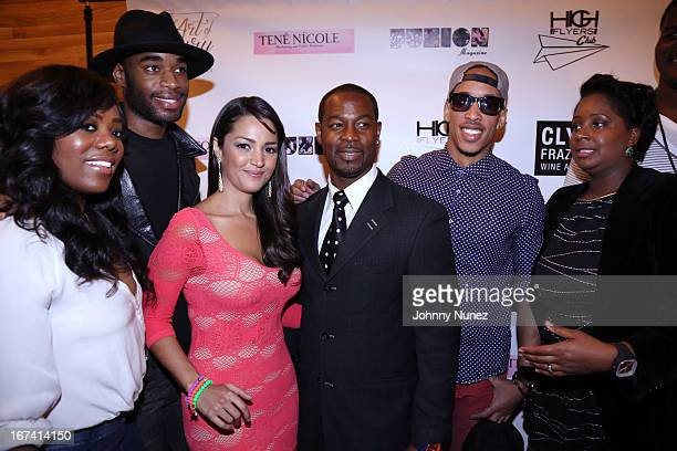 Meeka Claxton Marcus Stewart Paula Garces Darrin Henson Steve Cover and Nikkia McClain attend The Art Of Luxury Gifting Suite at Walt's Wine Dine on...