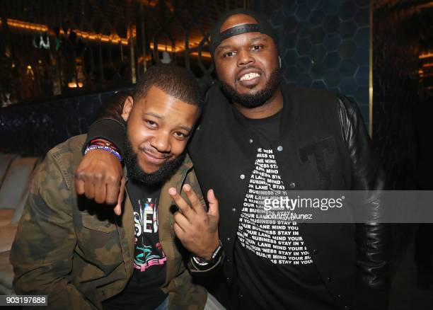 Meel and DJ Steph Floss attend as Lebron James hosts Dwyane Wade's Birthday with The House Of Remy Martin at Drake's New Pick 6ix Restaurant on...
