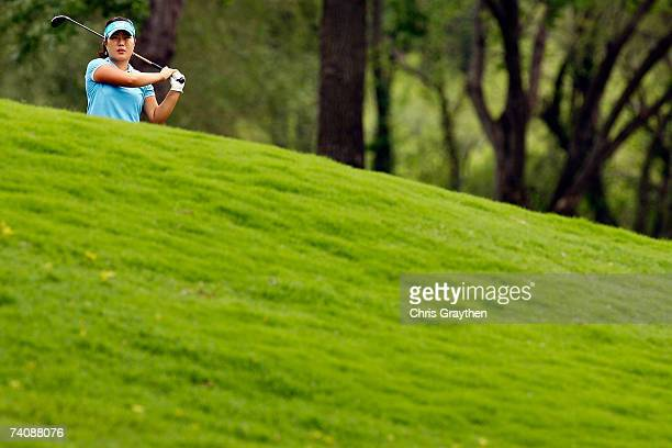 Meena Lee makes a shot from the fairway on the 17th hole during the final round of the SemGroup Championship presented by John Q Hammons on May 6...