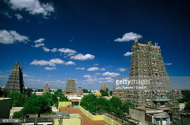 Meenakshi Amman Temple With Cityscape Against Sky