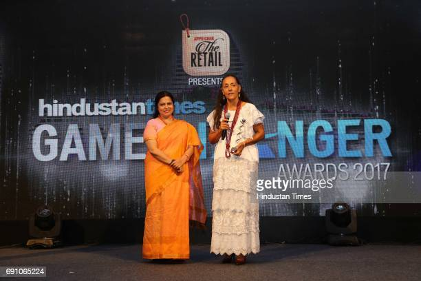 Meenakshi Lekhi and Mexican Ambassador to India and Game Changer Awardee Melba Pria during the Hindustan Times Game Changer Awards 2017 at Hotel...