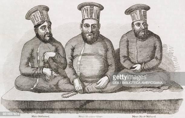 Meer Mahomed, Musseer Khan and Meer Nour Mahoud, three main Emiri rulers of Sindh, Pakistan, engraving from L'album, giornale letterario e di belle...