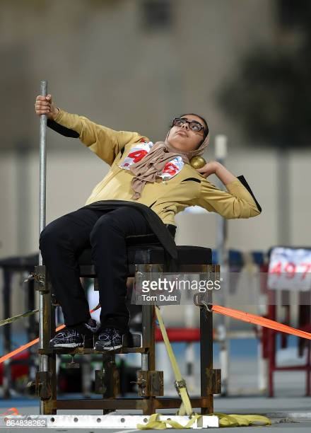 Meera Alkassab of UAE competes in Shot Put Wheelchair Women final during the 9th Fazza International IPC Athletics Grand Prix Competition World Para...