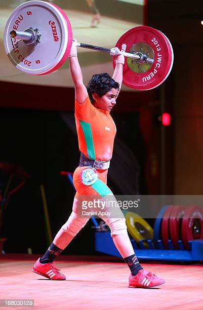 Meera Parshram Fakade of India B competes in the Women's 48kg during day one of the 2013 Junior Weightlifting World Championship at Maria Angola...