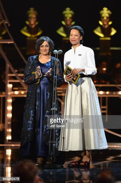 Meera Syal and Nina Sosanya present the award for Best Actor In A Supporting Role on stage during The Olivier Awards with Mastercard at Royal Albert...