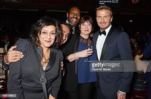 Meera Syal Sanjeev Bhaskar Lenny Henry Lisa Makin and David Beckham attend the 60th London Evening Standard Theatre Awards at the London Palladium on...