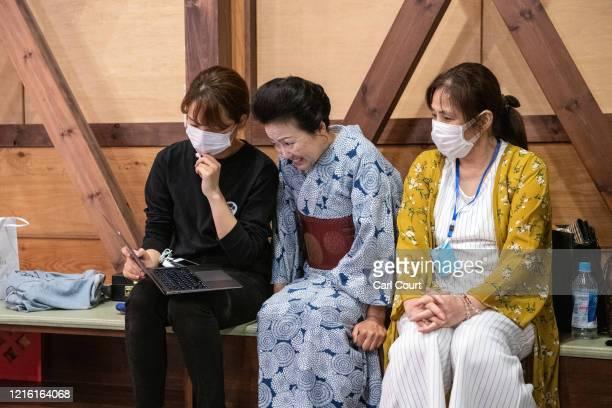 'Meet Geisha' staff member Tamaki Nishimura and Masako Takezawa the owner of Matsuyoshi Geisha House and chairperson of the Hakone Yumoto...