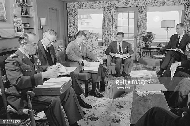 Meet on Defense Budget Hyannis Port Massachusetts President Kennedy meets with some of his topranking advisors here November 24 to discuss military...