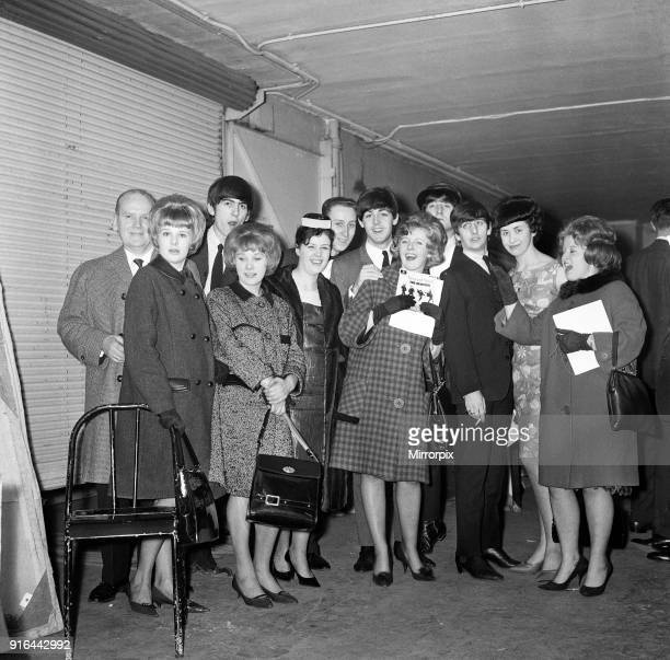 Meet The Beatles Competition Winners run by the Sunday Mirror Newspaper meet with The Beatles backstage at the Olympia Theatre Paris France during...