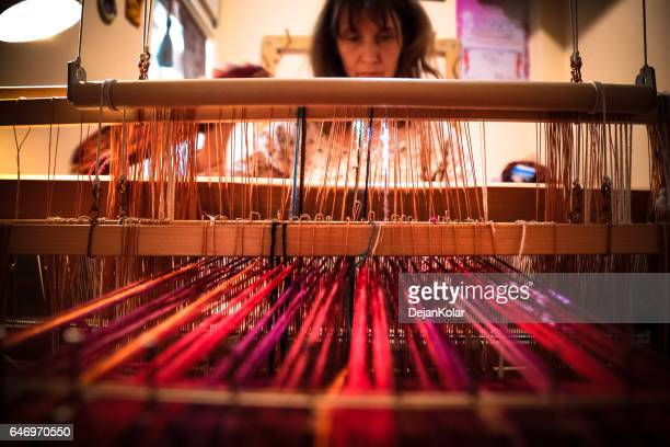 meet the handloom weaver - loom stock pictures, royalty-free photos & images