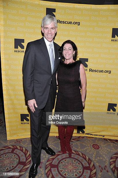 'Meet the Press' host David Gregory and Beth Wilkinson walk the red carpet for the International Rescue Committee's Annual Freedom Award benefit at...