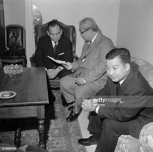 Meeting at Grasse, Grasse, France: Pro-western prince, Boun Oum of Laos, confers, June 9, with Cambodian Prince Norodom Sihanouk and Royal Laotian...