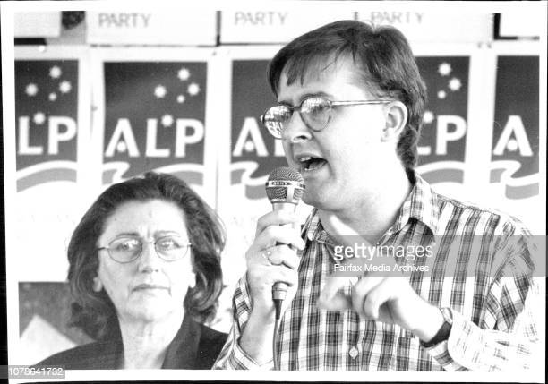 ALP Meeting at Petersham Public SchoolJeanette McHugh and Anthony AlbaneseAnger ALP official Anthony Albanese makes a point as yesterdays meeting...