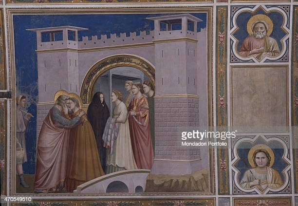 'Meeting at the Golden Gate by Giotto 13031305 14th Century fresco Italy Veneto Padua Scrovegni Chapel After restoration picture Whole artwork view...
