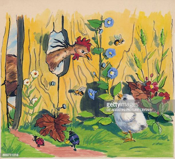 Meeting between a rooster and a chick through a hole in a fence children's illustration drawing